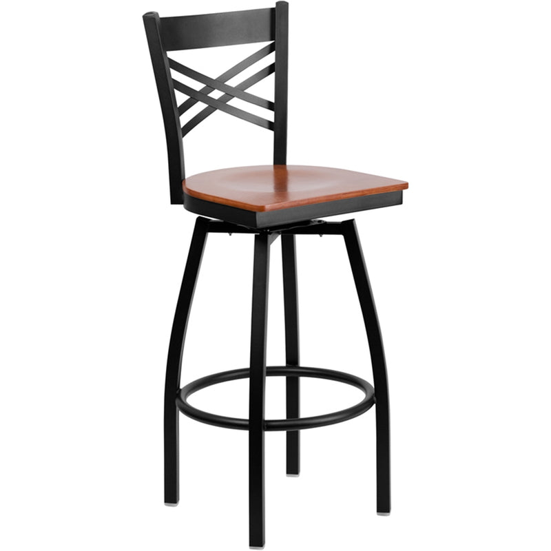 "HERCULES Series Black ""X"" Back Swivel Metal Barstool - Cherry Wood Seat"