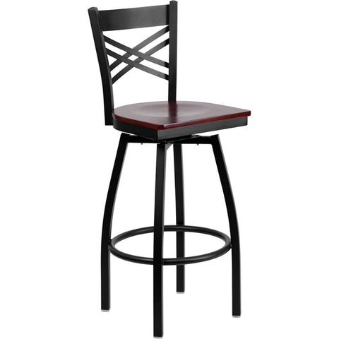 "HERCULES Series Black ""X"" Back Swivel Metal Barstool - Mahogany Wood Seat"