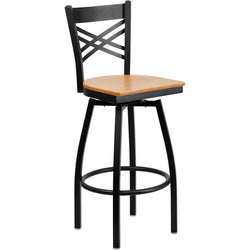 "HERCULES Series Black ""X"" Back Swivel Metal Barstool - Natural Wood Seat"