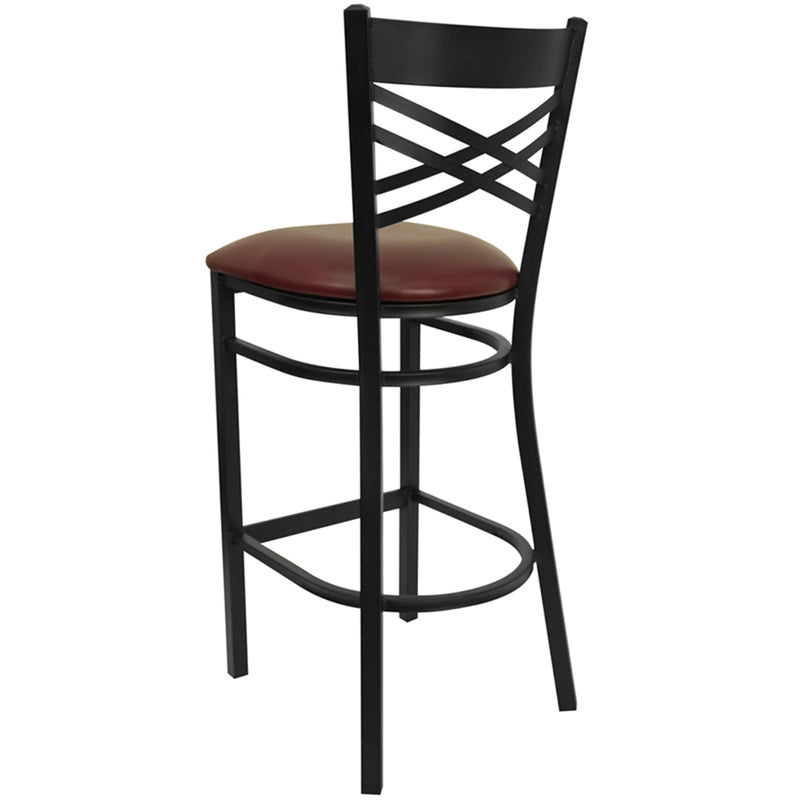 "HERCULES Series Black ""X"" Back Metal Restaurant Barstool - Burgundy Vinyl Seat - Moda Seating Corp"