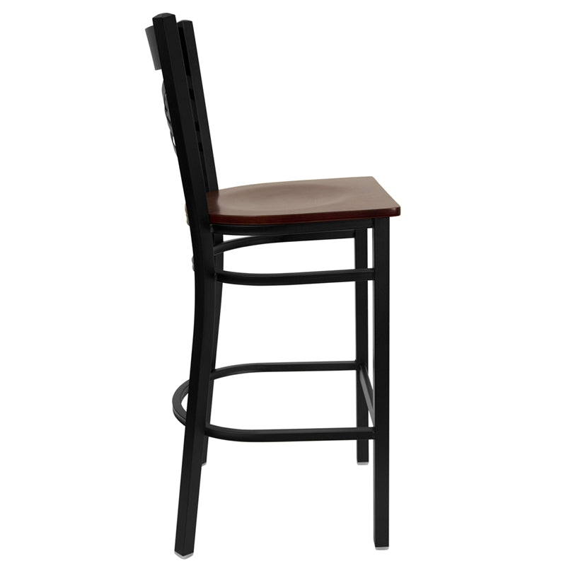 HERCULES Series Black ''X'' Back Metal Restaurant Barstool - Mahogany Wood Seat