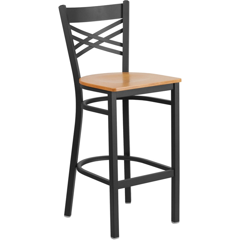 "HERCULES Series Black ""X"" Back Metal Restaurant Barstool - Natural Wood Seat - Moda Seating Corp"