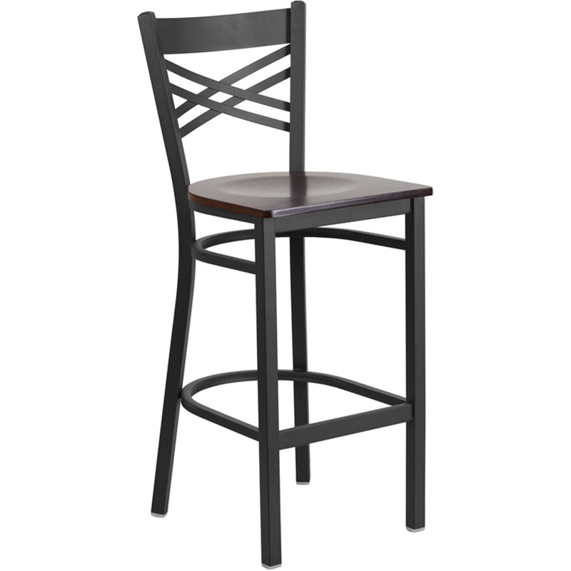 "HERCULES Series Black ""X"" Back Metal Restaurant Barstool - Walnut Wood Seat"