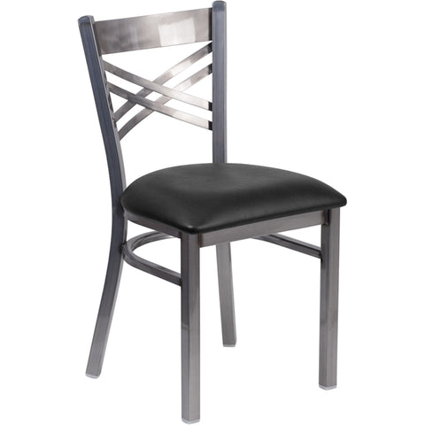 HERCULES Series Clear Coated X Back Metal Restaurant Chair - Black Vinyl Seat