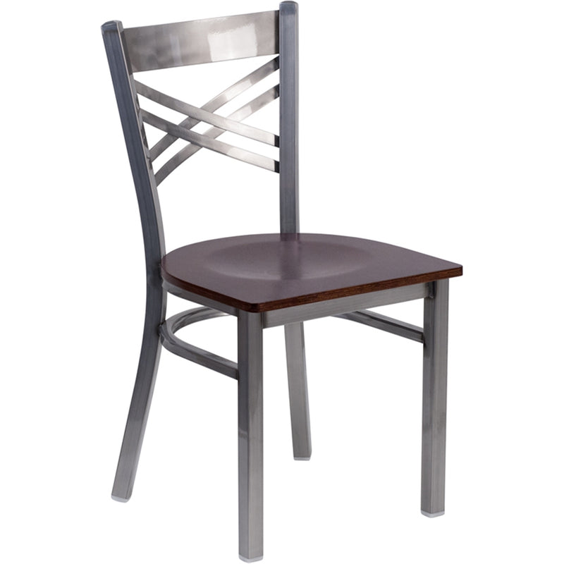 "HERCULES Series Clear Coated ""X"" Back Metal Restaurant Chair - Walnut Wood Seat"
