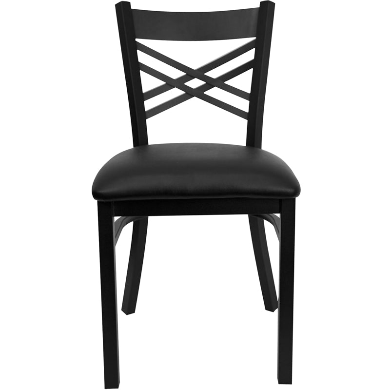 HERCULES Series Black ''X'' Back Metal Restaurant Chair - Black Vinyl Seat