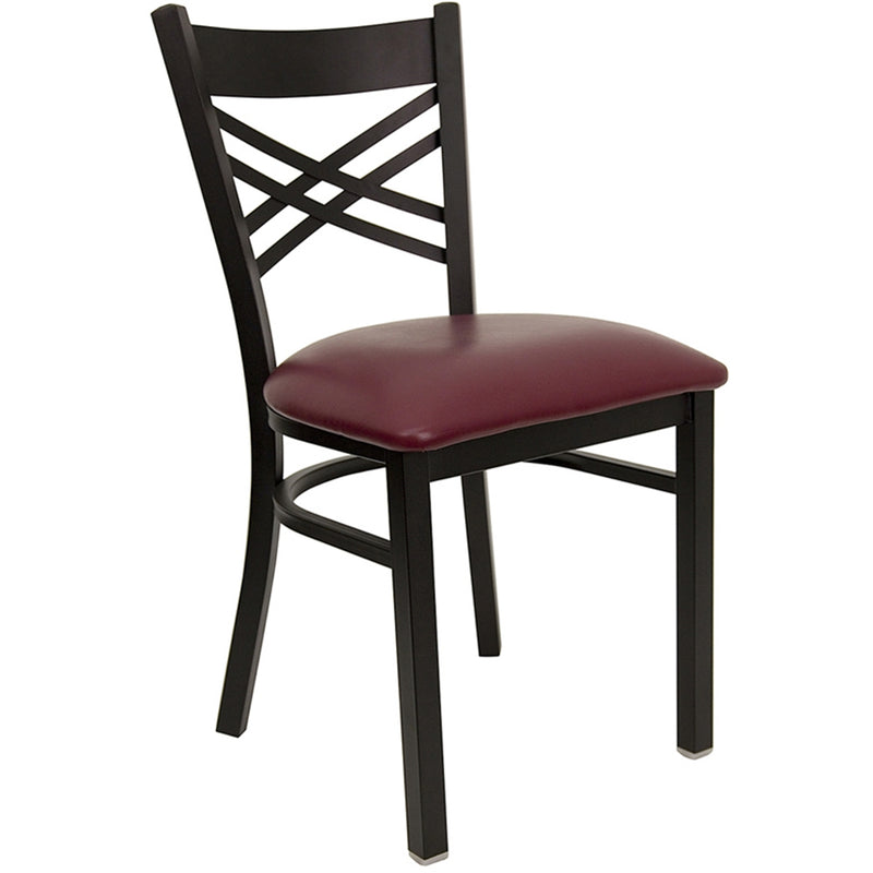"HERCULES Series Black ""X"" Back Metal Restaurant Chair - Burgundy Vinyl Seat"