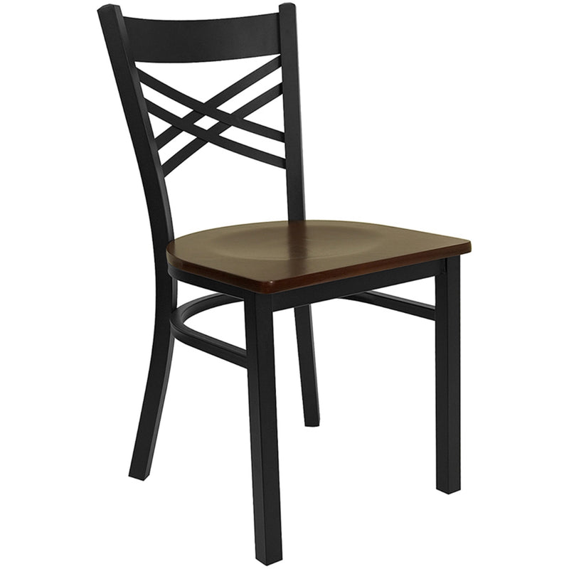 "HERCULES Series Black ""X"" Back Metal Restaurant Chair - Mahogany Wood Seat"