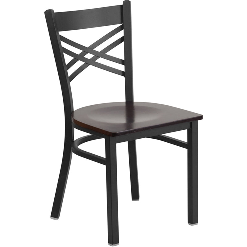 "HERCULES Series Black ""X"" Back Metal Restaurant Chair - Walnut Wood Seat - Moda Seating Corp"