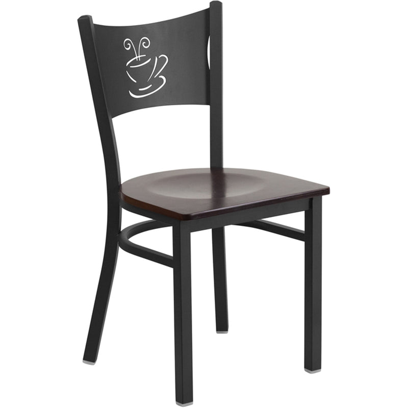HERCULES Series Black Coffee Back Metal Restaurant Chair - Walnut Wood Seat