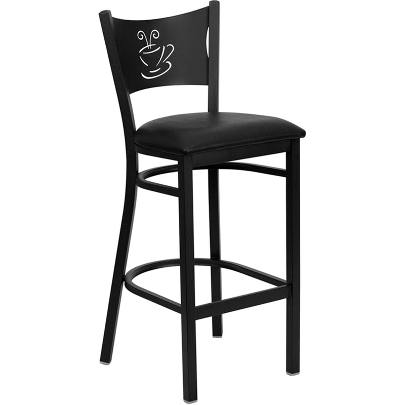 HERCULES Series Black Coffee Back Metal Restaurant Barstool - Black Vinyl Seat - Moda Seating Corp