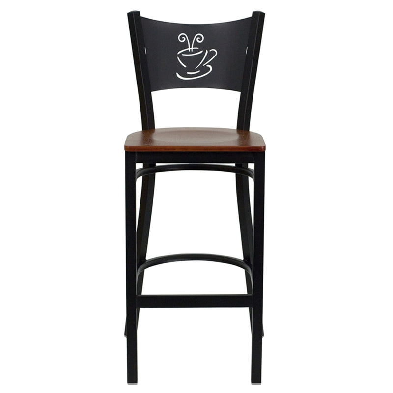 HERCULES Series Black Coffee Back Metal Restaurant Barstool - Cherry Wood Seat - Moda Seating Corp