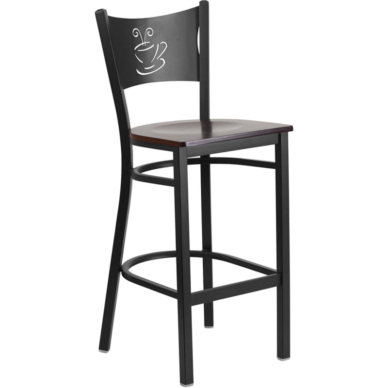 HERCULES Series Black Coffee Back Metal Restaurant Barstool - Walnut Wood Seat