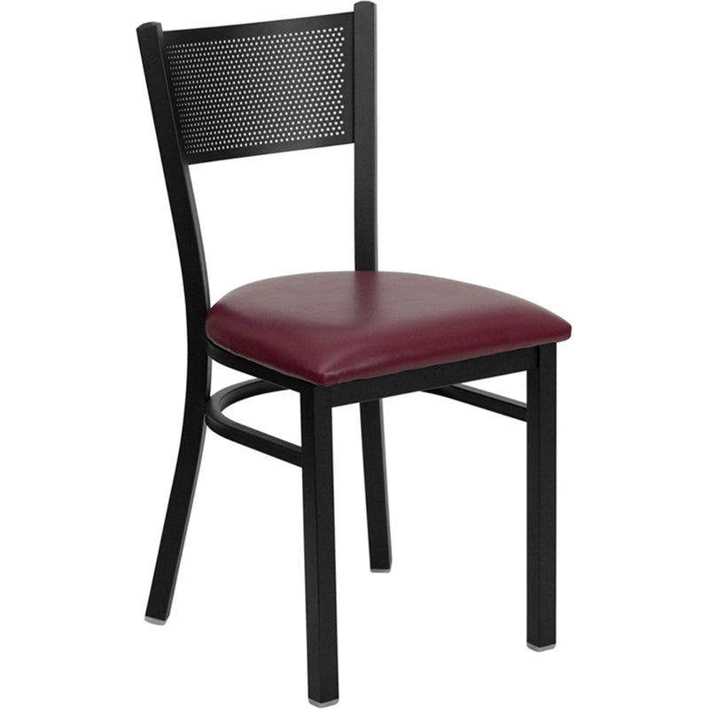 HERCULES Series Black Grid Back Metal Restaurant Chair - Burgundy Vinyl Seat - Moda Seating Corp