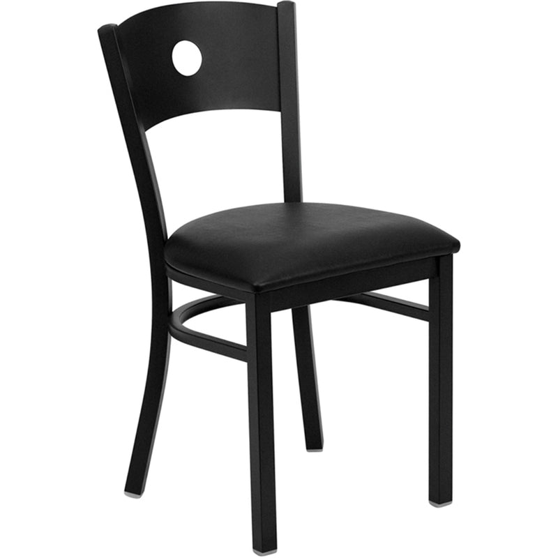 HERCULES Series Black Circle Back Metal Restaurant Chair - Black Vinyl Seat - Moda Seating Corp