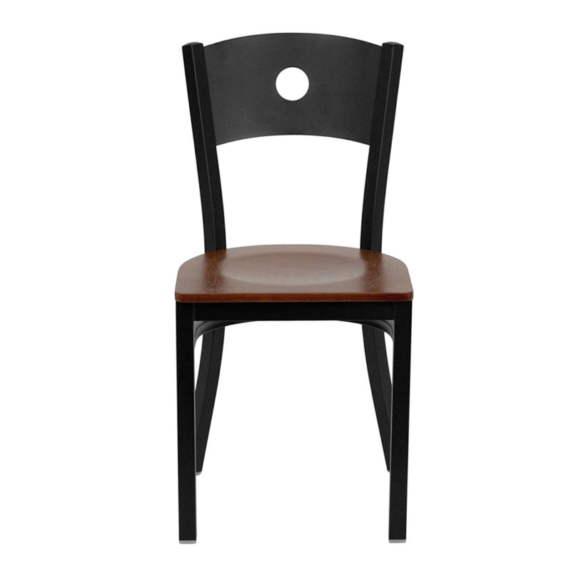 HERCULES Series Black Circle Back Metal Restaurant Chair - Cherry Wood Seat - Moda Seating Corp