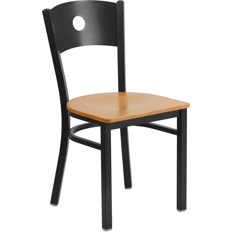 HERCULES Series Black Circle Back Metal Restaurant Chair - Natural Wood Seat - Moda Seating Corp