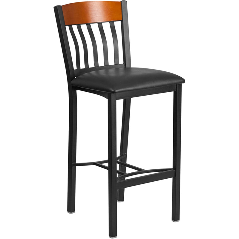 Eclipse Series Vertical Back Black Metal and Cherry Wood Restaurant Barstool with Black Vinyl Seat - Moda Seating Corp