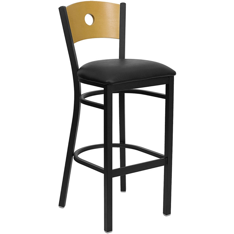 HERCULES Series Black Circle Back Metal Restaurant Barstool - Natural Wood Back, Black Vinyl Seat - Moda Seating Corp