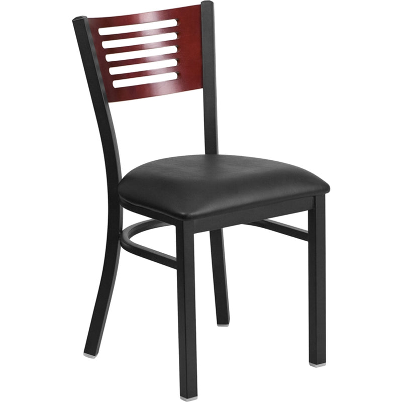 HERCULES Series Black Slat Back Metal Restaurant Chair - Mahogany Wood Back, Black Vinyl Seat - Moda Seating Corp