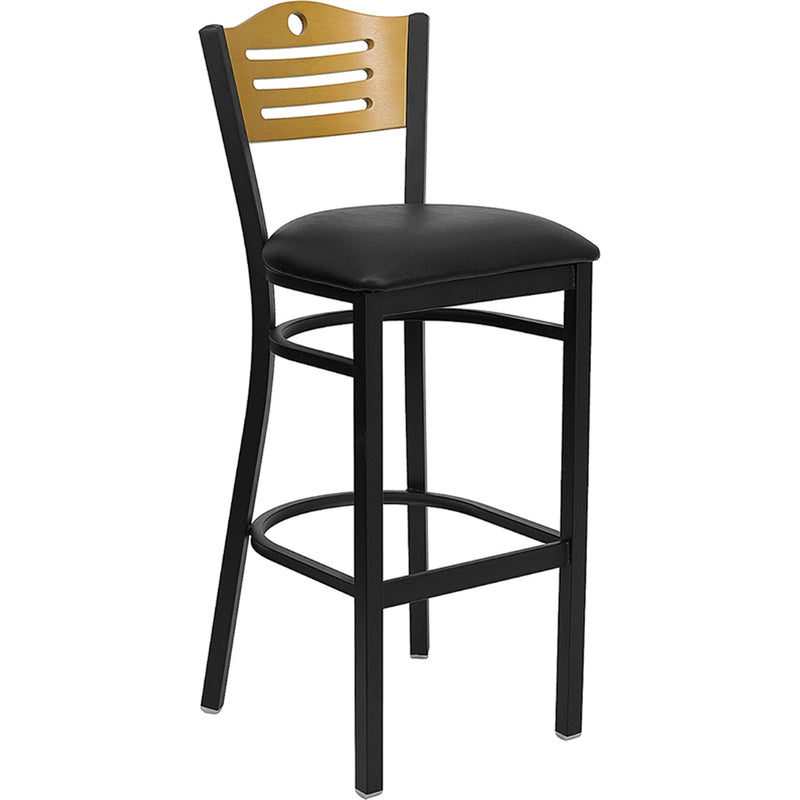 HERCULES Series Black Slat Back Metal Restaurant Barstool - Natural Wood Back, Black Vinyl Seat - Moda Seating Corp