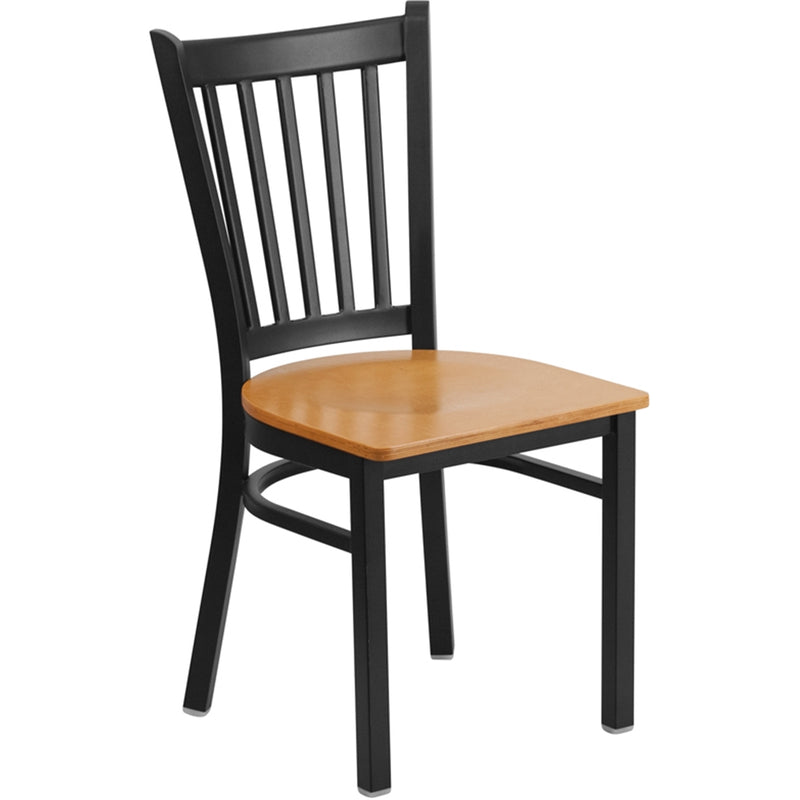 HERCULES Series Black Vertical Back Metal Restaurant Chair - Natural Wood Seat - Moda Seating Corp