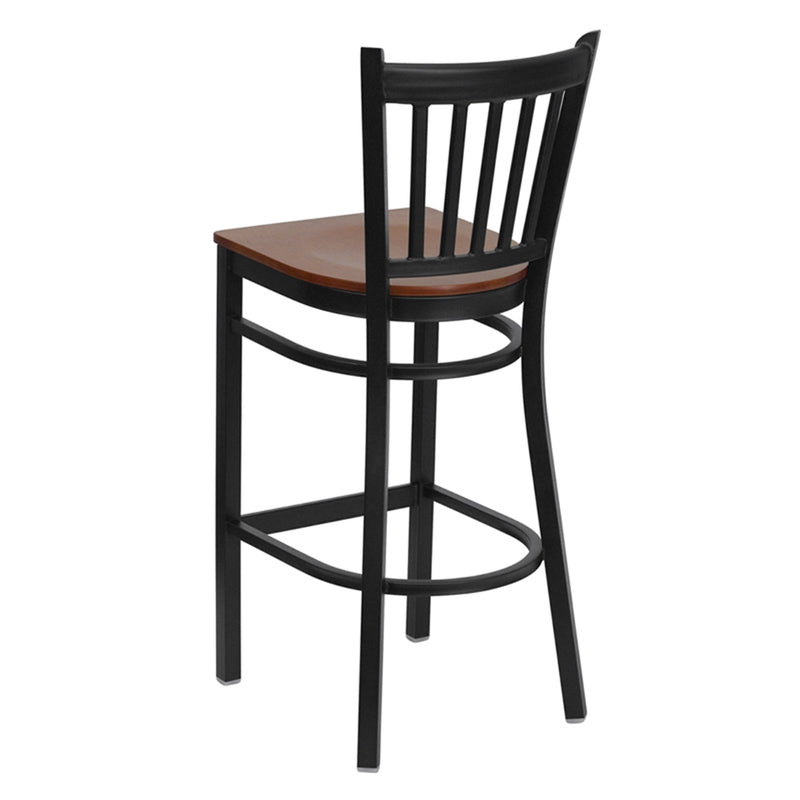 HERCULES Series Black Vertical Back Metal Restaurant Barstool - Cherry Wood Seat - Moda Seating Corp