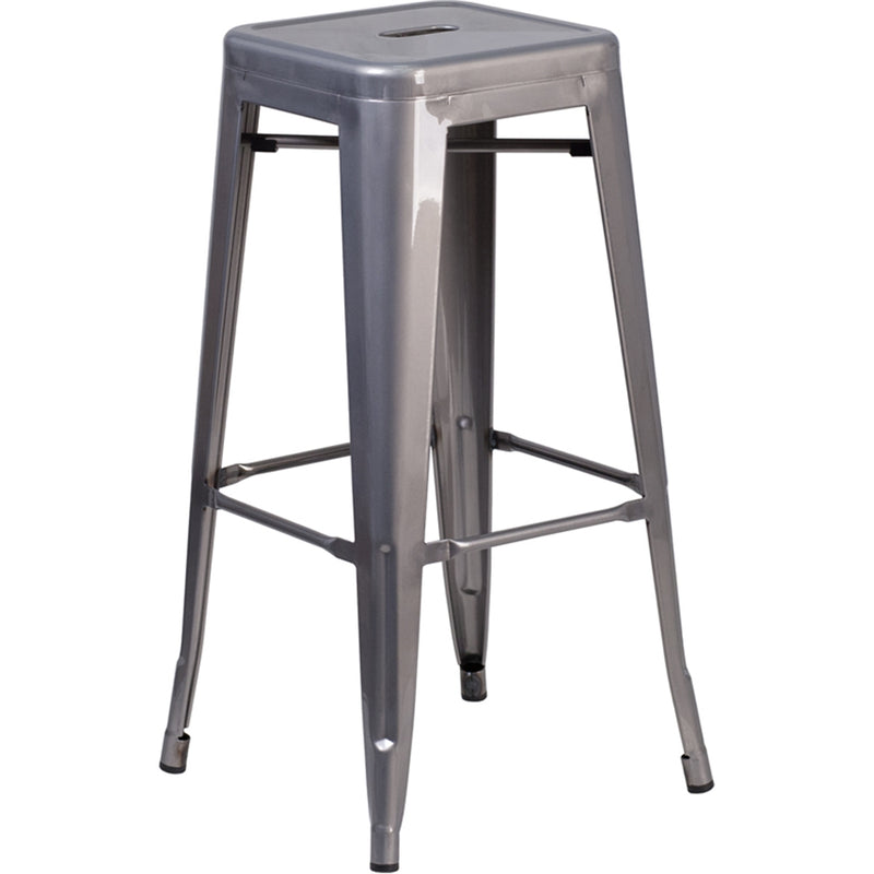 "30"" High Backless Clear Coated Metal Indoor Barstool with Square Seat"