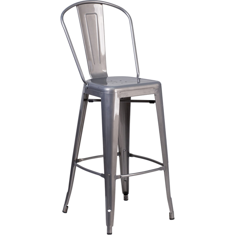 "30"" High Clear Coated Indoor Barstool with Back - Moda Seating Corp"