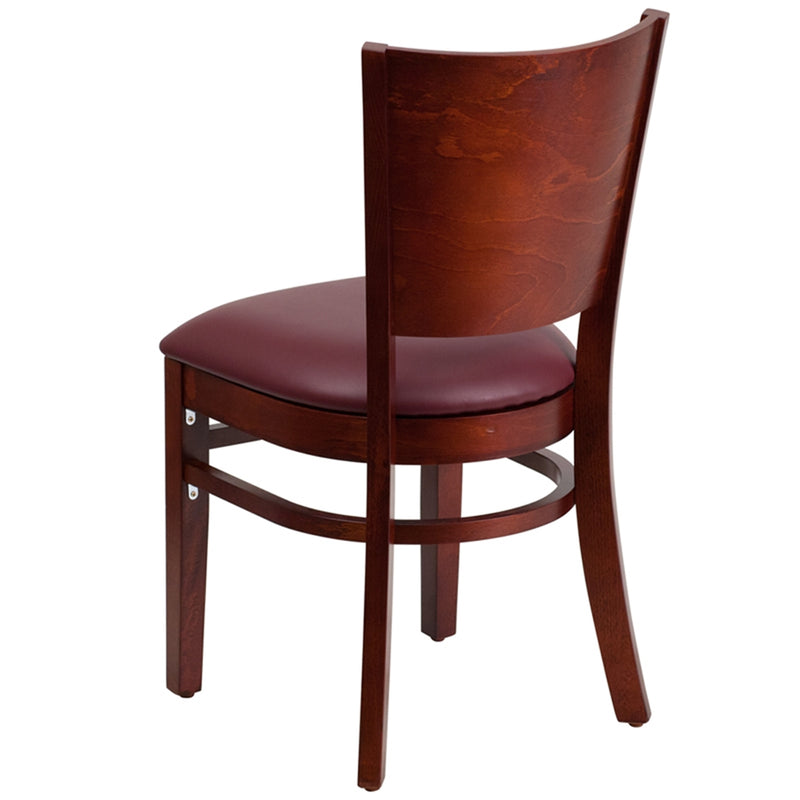 Lacey Series Solid Back Mahogany Wood Restaurant Chair - Burgundy Vinyl Seat - Moda Seating Corp
