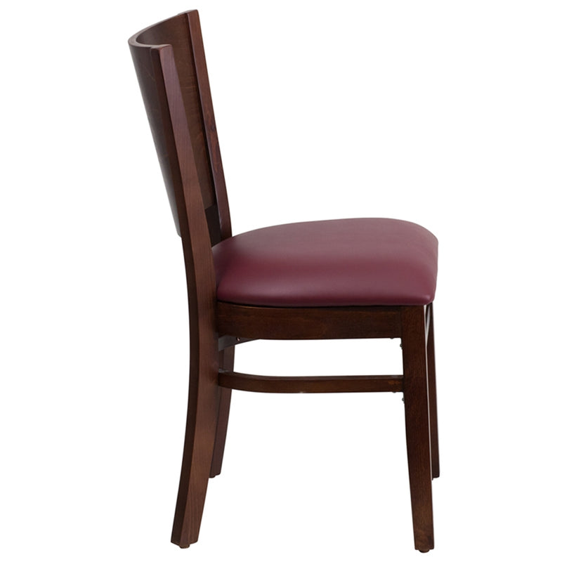 Lacey Series Solid Back Walnut Wood Restaurant Chair - Burgundy Vinyl Seat - Moda Seating Corp