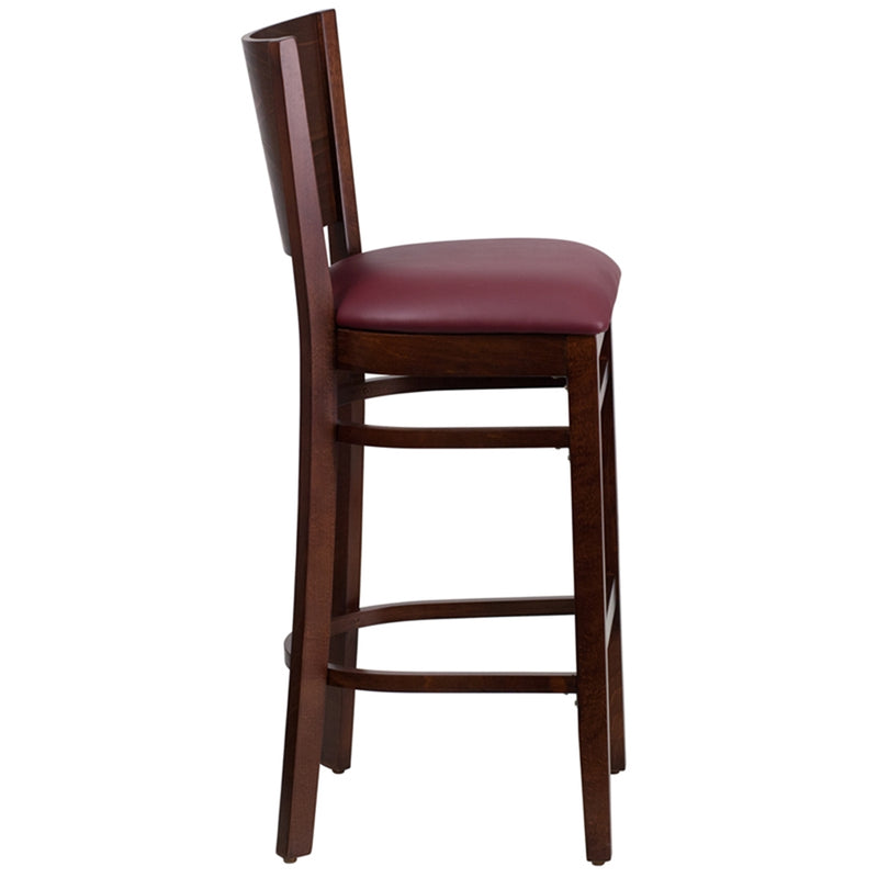 Lacey Series Solid Back Walnut Wood Restaurant Barstool - Burgundy Vinyl Seat - Moda Seating Corp