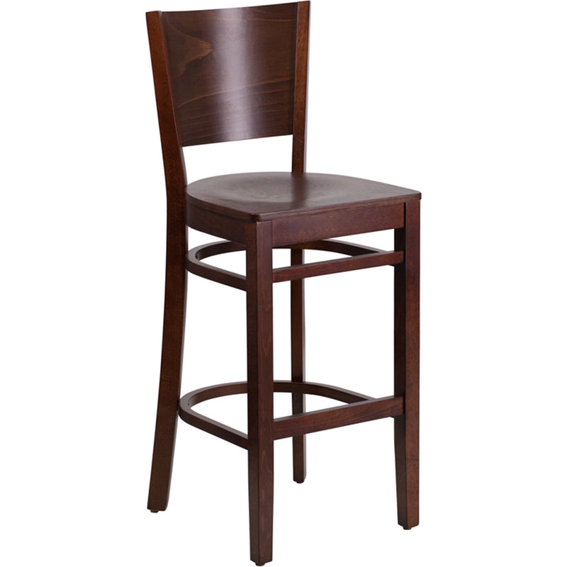 Lacey Series Solid Back Walnut Wood Restaurant Barstool - Moda Seating Corp