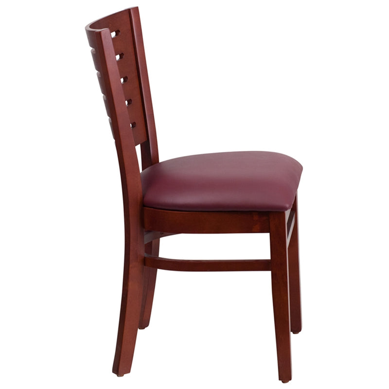 Darby Series Slat Back Mahogany Wood Restaurant Chair - Burgundy Vinyl Seat - Moda Seating Corp