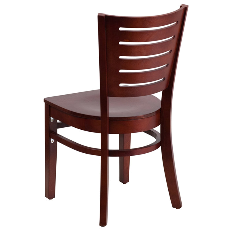 Darby Series Slat Back Mahogany Wood Restaurant Chair - Moda Seating Corp