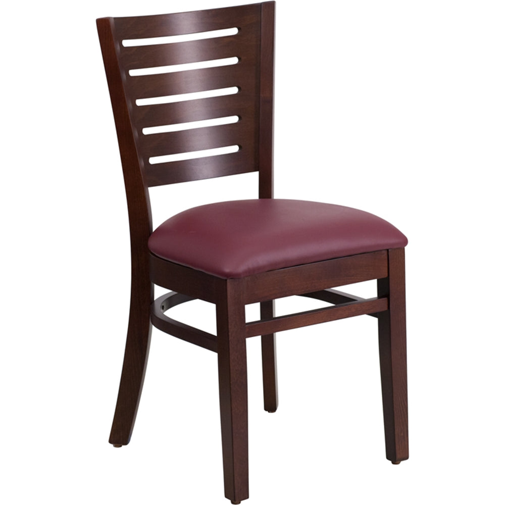 Darby Series Slat Back Walnut Wood Restaurant Chair - Burgundy Vinyl Seat