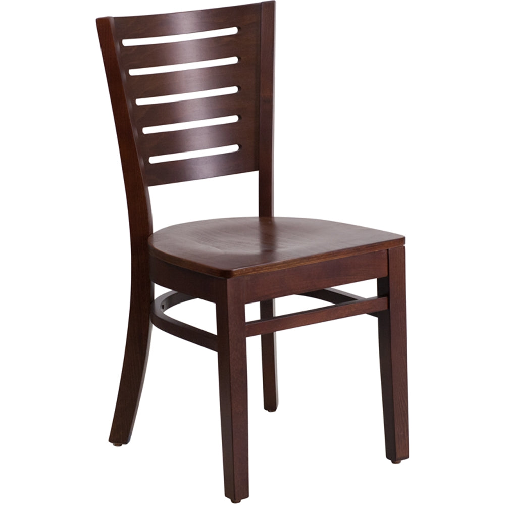 Darby Series Slat Back Walnut Wood Restaurant Chair