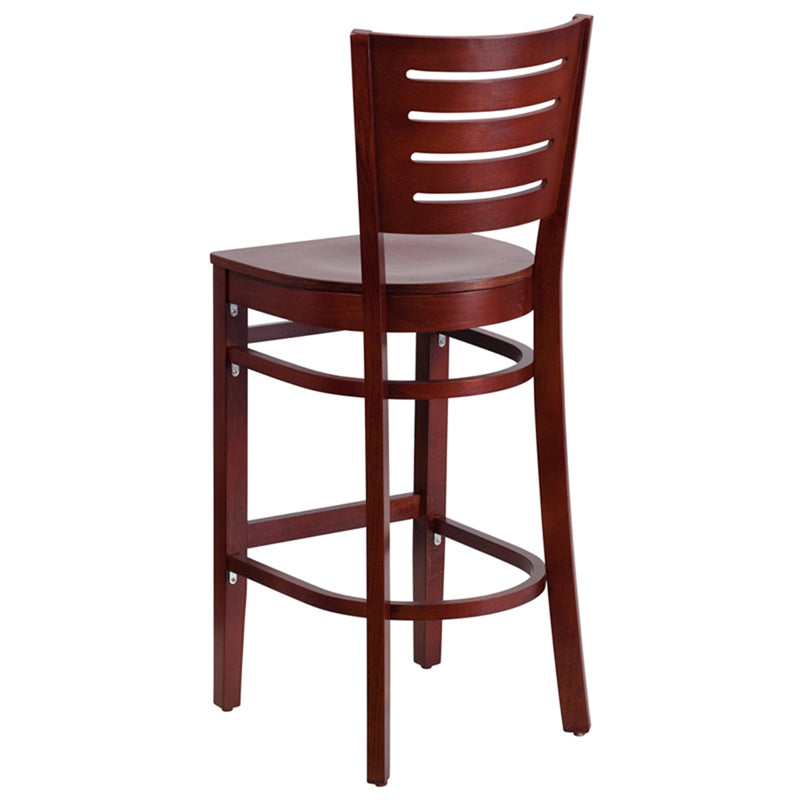 Darby Series Slat Back Mahogany Wood Restaurant Barstool - Moda Seating Corp