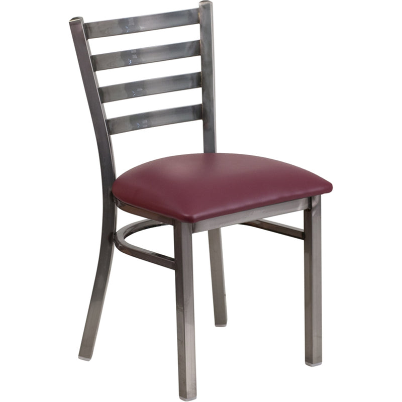 HERCULES Series Clear Coated Ladder Back Metal Restaurant Chair - Burgundy Vinyl Seat - Moda Seating Corp