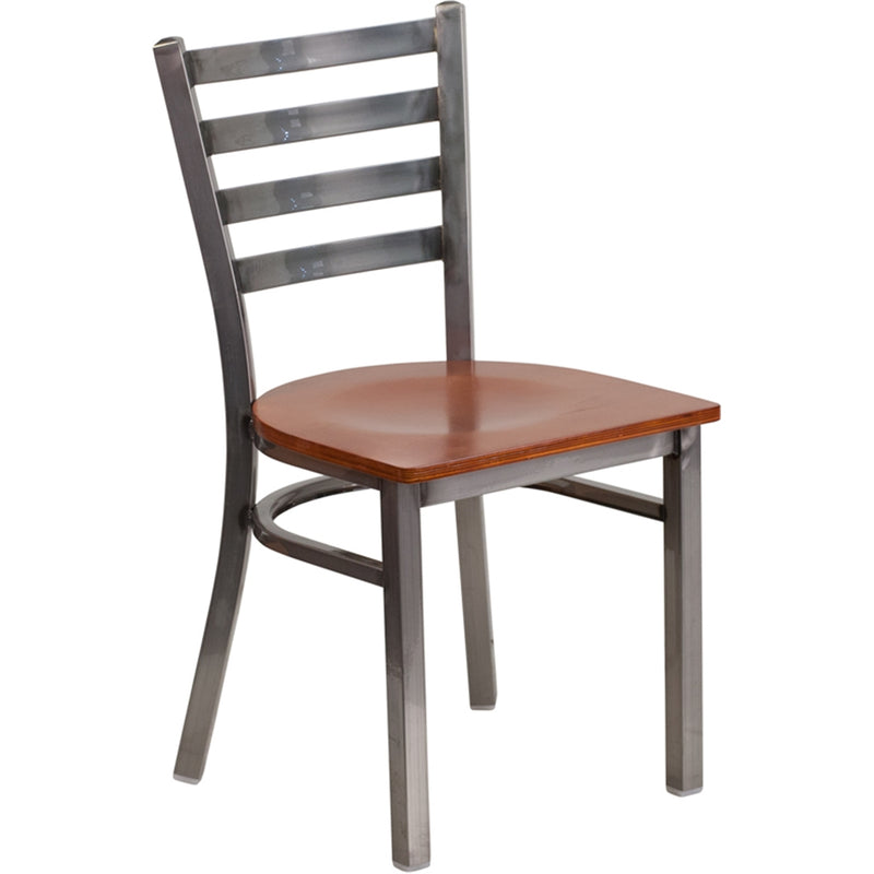 HERCULES Series Clear Coated Ladder Back Metal Restaurant Chair - Cherry Wood Seat