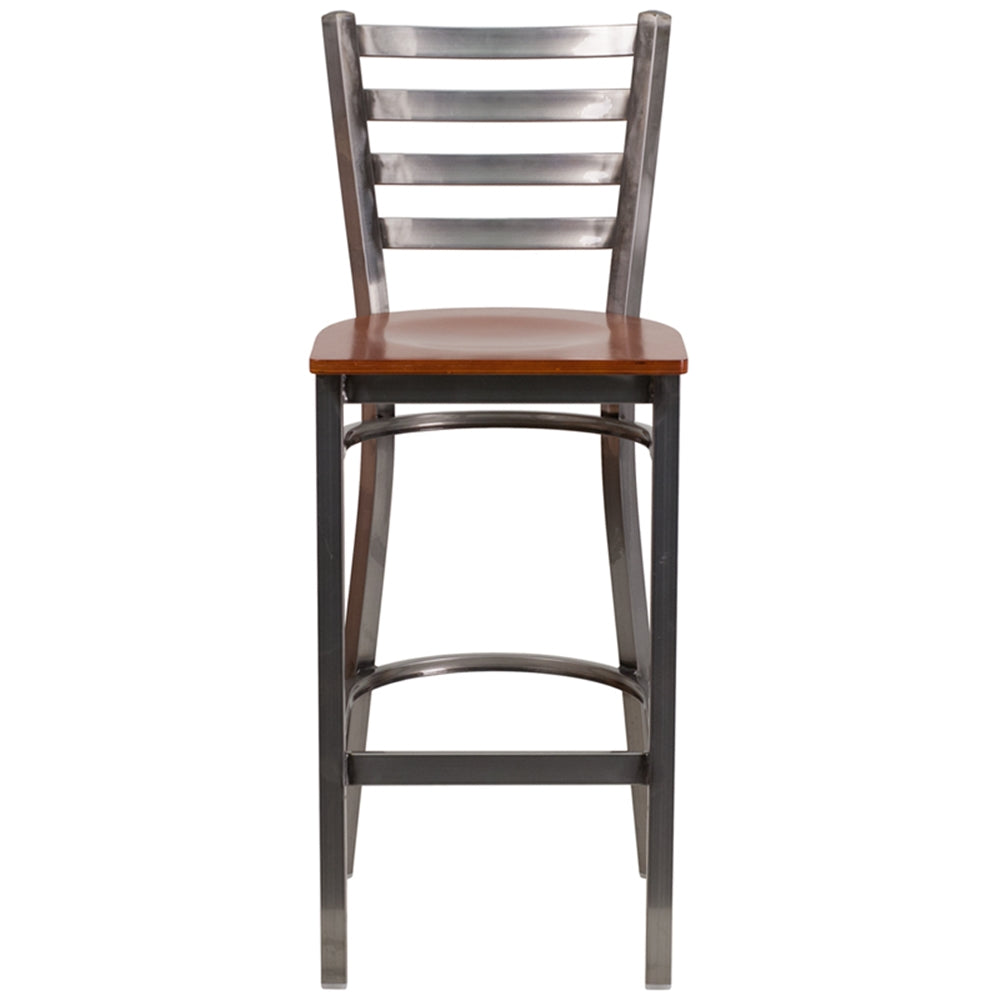 Stupendous Hercules Series Clear Coated Ladder Back Metal Restaurant Barstool Cherry Wood Seat Forskolin Free Trial Chair Design Images Forskolin Free Trialorg