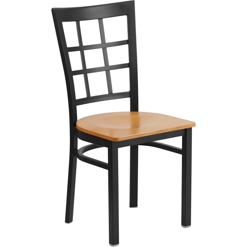 HERCULES Series Black Window Back Metal Restaurant Chair - Natural Wood Seat - Moda Seating Corp