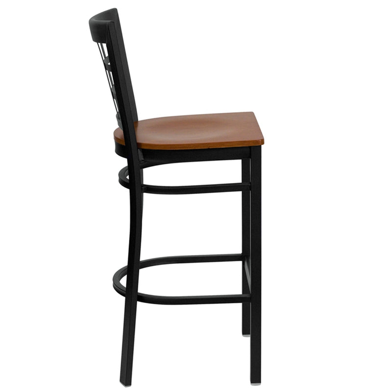 HERCULES Series Black Window Back Metal Restaurant Barstool - Cherry Wood Seat - Moda Seating Corp