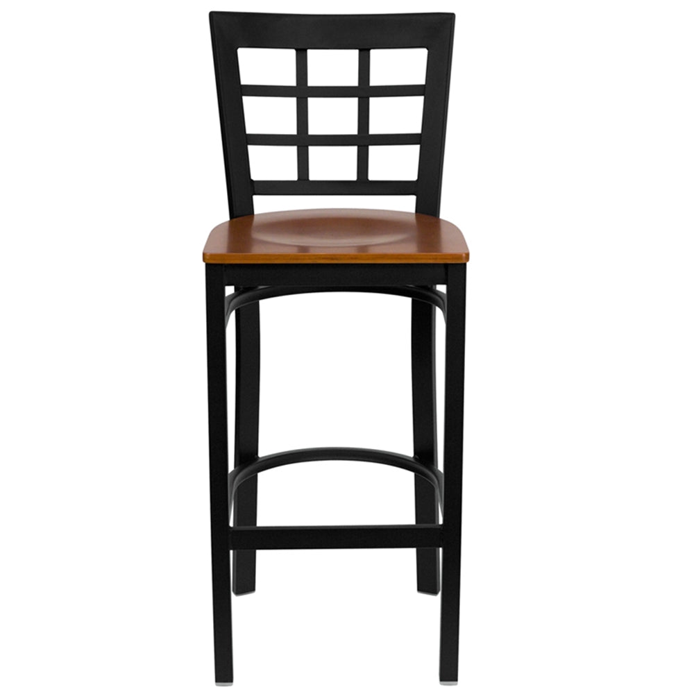Stupendous Hercules Series Black Window Back Metal Restaurant Barstool Cherry Wood Seat Squirreltailoven Fun Painted Chair Ideas Images Squirreltailovenorg