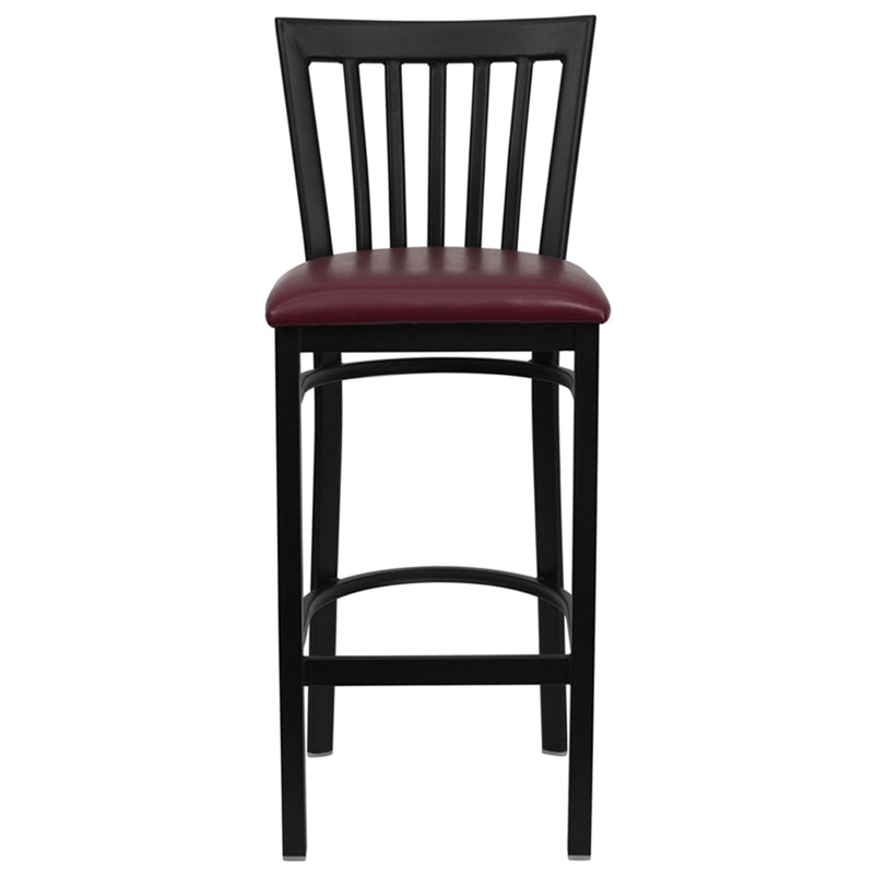 HERCULES Series Black School House Back Metal Restaurant Barstool - Burgundy Vinyl Seat - Moda Seating Corp