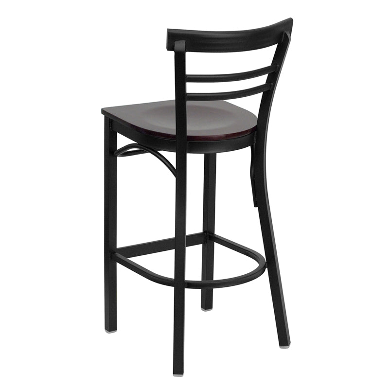 HERCULES Series Black Two-Slat Ladder Back Metal Restaurant Barstool - Mahogany Wood Seat