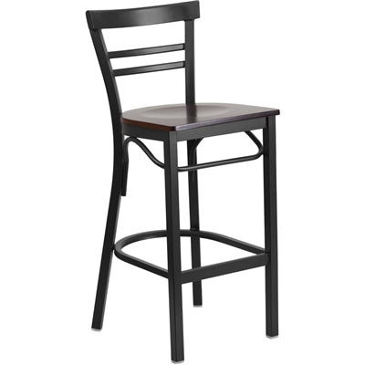 HERCULES Series Black Ladder Back Metal Restaurant Barstool - Walnut Wood Seat - Moda Seating Corp
