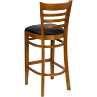 HERCULES Series Ladder Back Cherry Wood Restaurant Barstool - Black Vinyl Seat - Moda Seating Corp