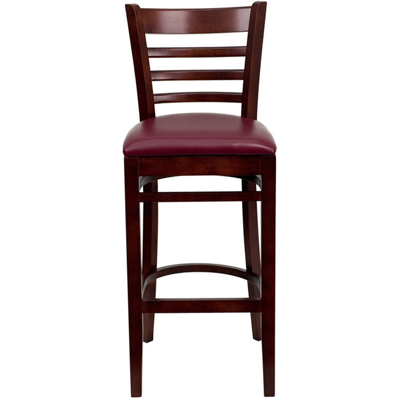 HERCULES Series Ladder Back Mahogany Wood Restaurant Barstool - Burgundy Vinyl Seat - Moda Seating Corp