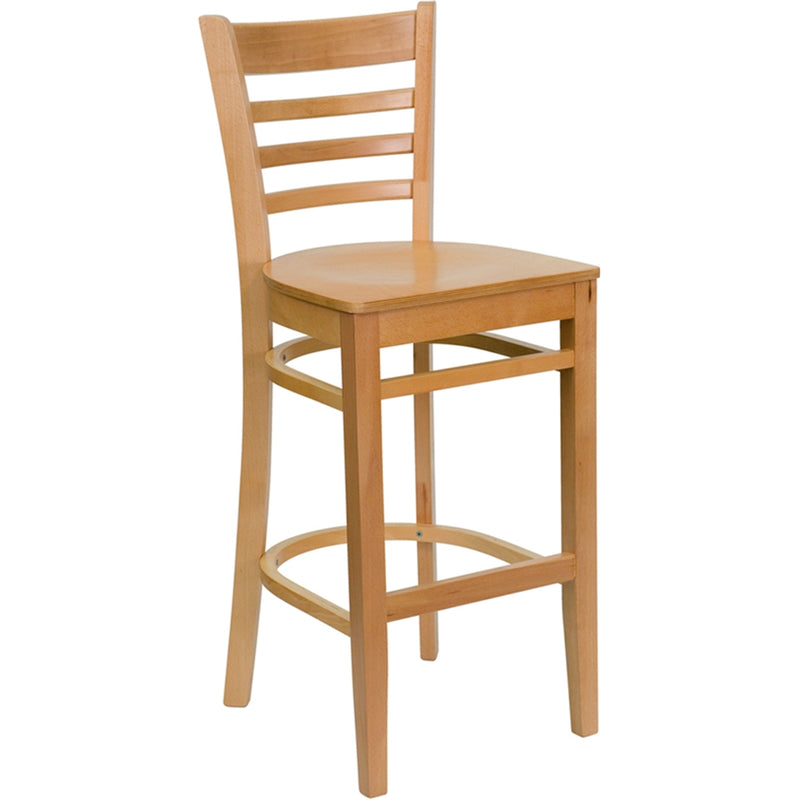 HERCULES Series Ladder Back Natural Wood Restaurant Barstool - Moda Seating Corp